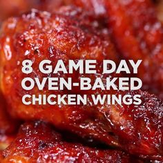8 Game Day Oven-Baked Chicken Wings Oven Baked Chicken Wings, Oven Wings, Grilled Chicken Wings, Fried Chicken, Chicken Legs, Cooking Chicken Wings, Boneless Chicken Wings, Churros, Healthy Bbq Recipes