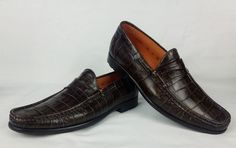 100% Authentic SANTONI Croc Stamped Leather Loafers Shoes 8.5 / 41.5 Brown MINT #Santoni #LoafersSlipOns