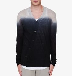ANN DEMEULEMEESTER BLACK DIP DYED CASHMERE CARDIGAN