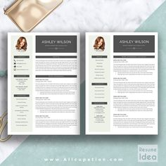 @allcupation Creative Resume Template, Modern CV Template, Word, Cover Letter, References, Instant Download, Mac PC, ASHLEY | Allcupation.com | We Help You Create Powerful Resume and Win The Interview | #resume #template #resumetemplate