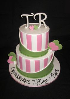 Pink And Green Engagement Cake
