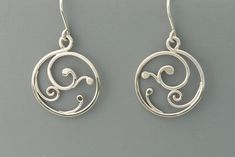 Small spiral sterling silver earrings with french wires, Rachel Wilder Handmade Jewelry