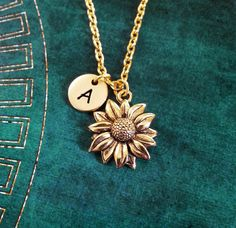 Sunflower Necklace SMALL Sunflower Jewelry Personalized Jewelry Flower Girl Necklace Sunflower Charm Necklace Flower Necklace Flower Jewelry by MetalSpeak on Etsy https://www.etsy.com/listing/399637635/sunflower-necklace-small-sunflower