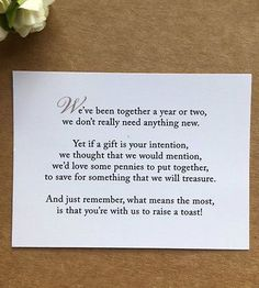 Wedding Poem Card Inserts Invitations Money Cash Gift Honeymoon