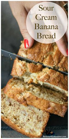 BEST ever Sour Cream Banana Bread recipe, so moist and delicious; put on your Banana Bread Giving List. BEST ever Sour Cream Banana Bread recipe, so moist and delicious; you can substitute the sour cream with Greek yogurt. Köstliche Desserts, Delicious Desserts, Dessert Recipes, Dessert Bread, Recipes Dinner, Healthy Bread Recipes, Banana Bread Recipes, Crockpot Banana Bread, Sweets