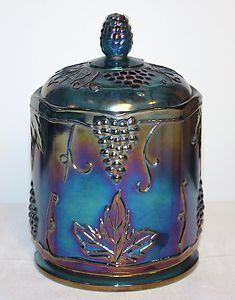 "Indiana Blue Carnival Depression Glass Harvest Grape ~ 7.25"" Canister ~ MINT!"