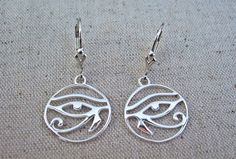 Eye of Horus Earrings, Sterling Silver, Art Deco Leverback Fittings by AuroraGemBoutique