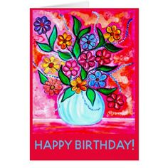 Birthday card 16 - flowers floral flower design unique style