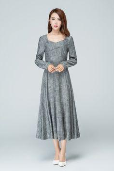 grey dress long sleeves dress pom dress elegant dress by xiaolizi