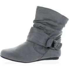 Forever Link Selena-58 Women's Fashion Calf Flat Heel Side Zipper... ($35) ❤ liked on Polyvore featuring shoes, boots, ankle booties, grey, grey ankle booties, slouch boots, grey slouch boots, slouch ankle boots and gray booties