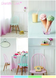 Love this paint technique!  Inspiring colours and way to use them - 'dipping' the chairs and the fabric.