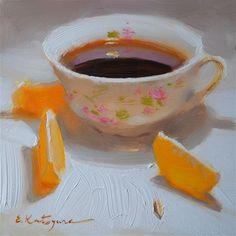 "Daily+Paintworks+-+""Coffee+and+Mandarin+Slices""+-+Original+Fine+Art+for+Sale+-+©+Elena+Katsyura"