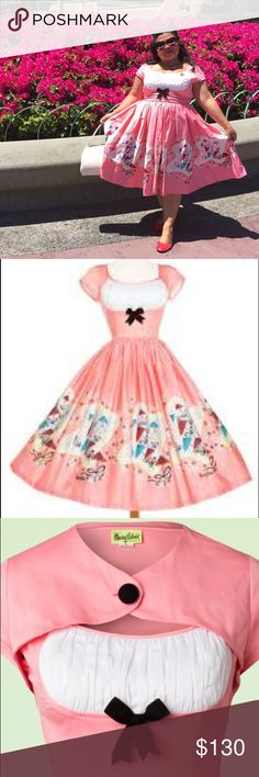 || Pinup Girl Clothing || Dress Adorable Mary Blair Umbrella Print dress from Pinup Girl Clothing. Gently used. Pretty pinup pink color. Includes bolero. Pinup Couture Dresses