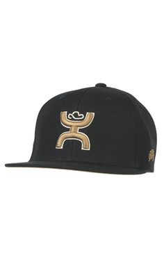 HOOey Catcus Ropes Black with Gold Hands Up Logo Snap Back Cap  1078e7640fb