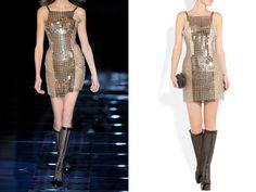 Versace chain-mail and silk-satin mini dress