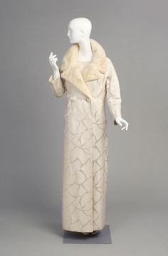 Ensemble: Evening Coat and Dress, Silk damask, mink, James Galanos, 1985