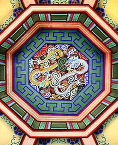 These colors are traditionally used in decorating temples/buildings Korean Art, Asian Art, Korean Traditional, Traditional Art, Korean Painting, Korean Design, Korean Products, Traditional Paintings, North Korea
