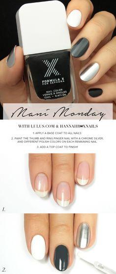 Mani Monday: Metallic Black and White Nail Tutorial | Lulus.com Fashion Blog | Bloglovin