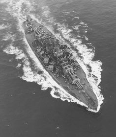 Aerial view of USS Nevada (BB-36) after her 1942 modernization