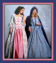 Elegant 17th Century-European-America's Colonial Day Dress-Historical Sewing Pattern-Two Styles-Bell Sleeves-Hooded Cape-Hat-Uncut-Size 6-12 by FarfallaDesignStudio on Etsy