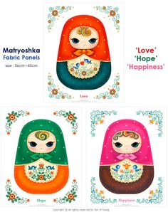 Matryoshka Fabric DIY Fabric Doll Cushion DIY by AtelierDressyDoll