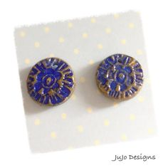Polymer Clay Rustic Earring Charms  Bead Set blue by JuJoDesigns