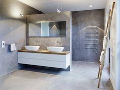 Bad, doppelter Waschtisch weiß mit Holz, Aufsatzwaschbecken, Wände und Boden in Betonoptik, (von honey and spice) graue Betonfarbe, wasserfest