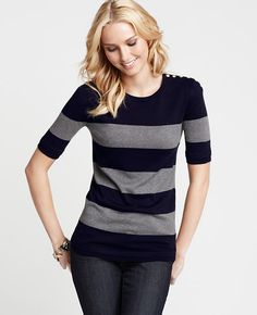 Striped Pullover with Shoulder Buttons