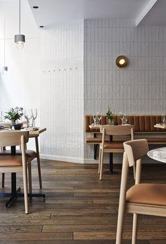 joanna laajisto restaurant michel helsinki white tiles leather benches