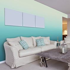 wall painting techniques:ombre living room ideas maritime set blue wall