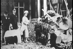 Original caption:Winston Churchill, King George VI and Queen Elizabeth in the ruins of Buckingham Palace, hit by a bomb in 1940.
