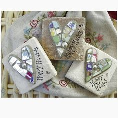 Mosaic hearts on limestone tiles – inspiration only, but easy to figure out