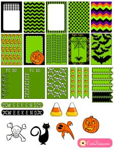 Halloween Stickers for Happy Planner and Erin Condren Life Planner