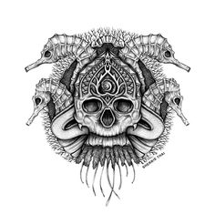 Underwater Sea Skull art by Sherrie Thai of Shaireproductions.com . Black and white tattoo art illustration inspiration, seahorses skeleton, pen, ink and graphite creation. San Francisco artist.