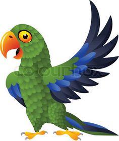 Detailed funny green parrot cartoon