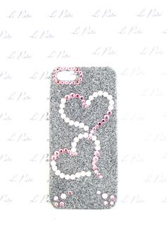 Gray and Pink Bling Phone Case with Swarovski Crystal by LePatri
