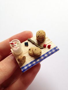 Miniature Wooden Tray _ Cookies with milk & fruits _ 1/12 Dollhouse Scale Miniature Food _ Polymer Clay
