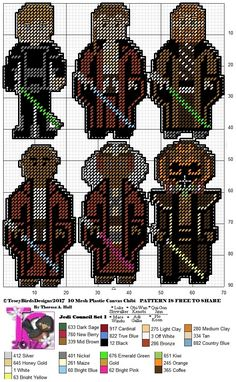 Jedi Council Set 1 other sets are a work in progress Plastic Canvas Christmas, Plastic Canvas Crafts, Plastic Canvas Patterns, Star Wars Pc, Disney Theme, Loom Beading, Hand Stitching, Needlepoint, Crochet Projects