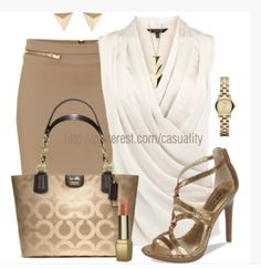 7viluk-l-610x610-blouse-top-shirt-v-neck-cream-pleated-top-cross-over-top-skirt-pencil-skirt-beige-bag-purse-shoes-stilettos-gold-glitter-glitter-heels-high-heels-watch-earrings-necklace-clothes-ou.jpg 594×610 pixels