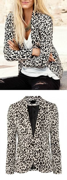 Leopard Print Collarless Long Sleeve Blazer