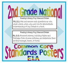 2nd Grade Common Core Standards posters for ELA