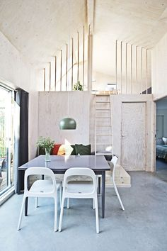 Cool, Compact and Stylish Allotment House - Nordic Design Small Cabin Interiors, Wood Interiors, Home Furniture, Outdoor Furniture Sets, Furniture Ideas, Interior Styling, Interior Design, Nordic Design, Nordic Style