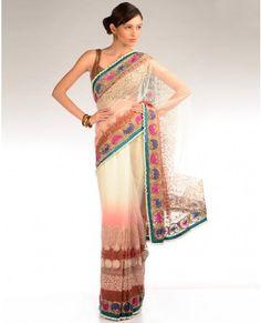 Ombre Shaded Cream and Blush Peach Sari with Multicolored Embroidery