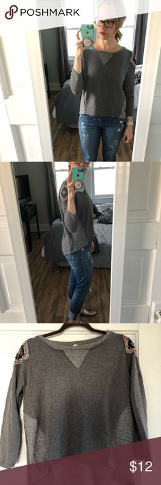 Grey high-low beaded sweatshirt, Target Grey high-low beaded sweatshirt. Beaded pattern on shoulders Xhilaration Sweaters Crew & Scoop Necks