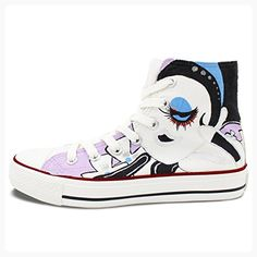 Wen Women's Hand Painted Shoes Custom Design Casual Shoes Cartoon Girl Flowers High Top Canvas Sneakers (*Partner Link)