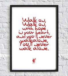Liverpool FC print You'll never walk alone Football print Soccer Prints wall art prints Liverpool football gifts typography quote by GallerySixtyFive on Etsy Liverpool Football Team, Uk Football Teams, Liverpool Gifts, Liverpool Logo, Football Rooms, Anfield Liverpool, Football Bedroom, Liverpool Champions, Sport