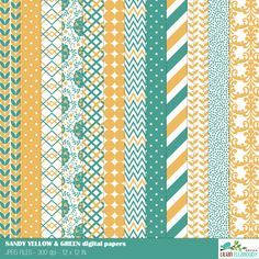 Sandy yellow and green digital papers