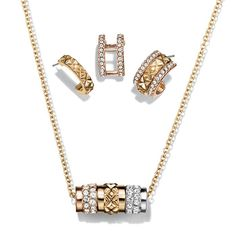 Triple Threat Necklace and Earring Set - Goldtone necklace and earring set. Necklace has a sliding cylinder that is a mix of rhinestone embellished goldtone, silvertone, and rosegold tone colors. The earrings are convertible half moon hoops: wear center gold textured hoop alone or add rose goldtone pave jacket. Regularly $19.99, buy Avon Jewelry online at http://eseagren.avonrepresentative.com