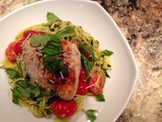 Pesto Chicken Zoodles.. such an easy tasty healthy dinner!