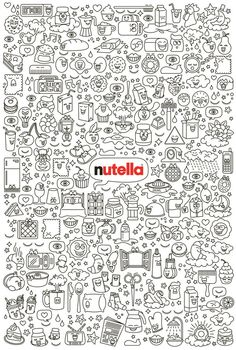 :) Nutella Limited edition, by Davide Scarpantonio Cool Wallpaper, Pattern Wallpaper, Iphone Wallpaper, Nutella Wallpaper, Doodle Drawings, Doodle Art, Nutella Funny, Morning Humor, Funny Morning